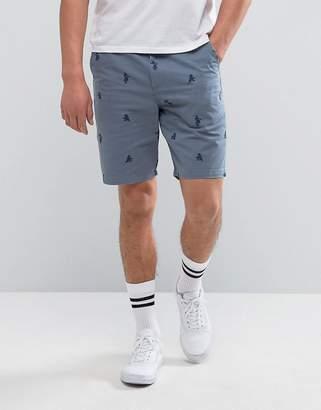 Vans Authentic Monogram Shorts In Blue VA2ZYAKWQ