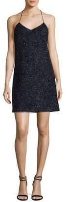 Halston Sleeveless V-Neck Metallic Slip Cocktail Dress