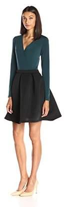 Lark & Ro Women's Wrap Front Shadow Stripe Flare Dress