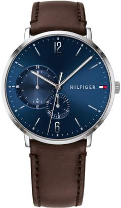 Tommy Hilfiger Casual Watch with Dark Brown Stitched Leather Strap