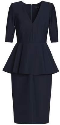 Milly Flared Stretch-cady Peplum Dress