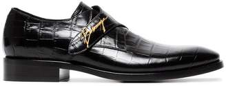 Balenciaga Black croc gold buckle leather monk shoes