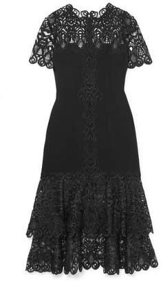 Jonathan Simkhai Crepe And Guipure Lace Midi Dress - Black