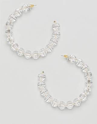 Asos Design Statement Hoop Earrings With Faceted Resin Beads In Gold