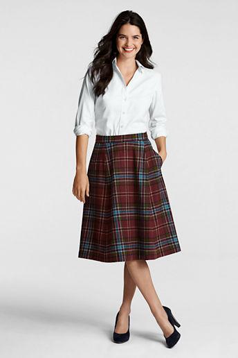 Lands' End Women's Regular Blanket Plaid Skirt