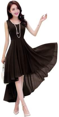 Dasior Women's A-Line Asymmetric High Low Summer Beach Holiday Party Dress L Auqa