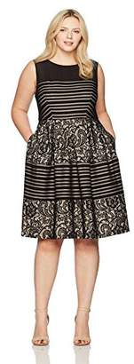 Sangria Women's Plus Size Striped Lace Party Dress