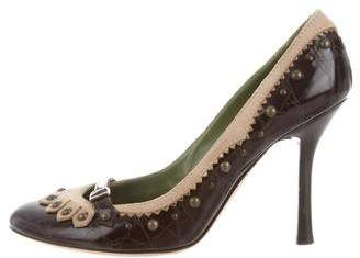 DSQUARED2 Leather Suede-Trimmed Pumps