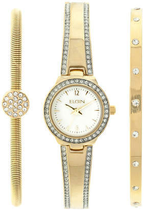 Elgin Womens Gold Tone Mother Of Pearl Bracelet Watch Set Eg16007Gtst