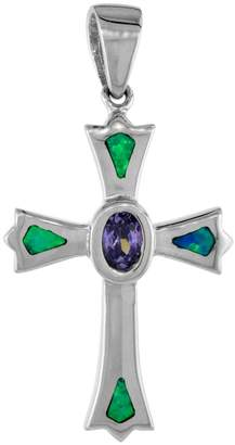 Sabrina Silver Sterling Silver Amethyst CZ Fleury Cross Pendant Synthetic Opal Inlay Oval Center 1 1/8 inch tall