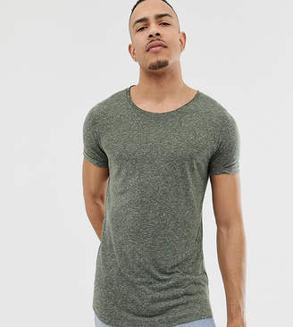 993eba9c Asos Design DESIGN Tall longline t-shirt with scoop neck and curved hem in  linen
