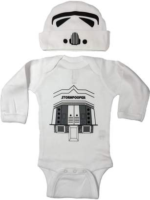 Star Wars Vestys Baby Boy Storm Trooper Pooper Bodysuit and Hat (6M)