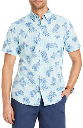 Izod Dockside Chambray Pineapple Sport Shirt