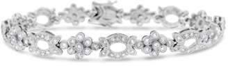 18K White Gold 2.50ct Diamond Leaf & Flower Filigree Design Bracelet
