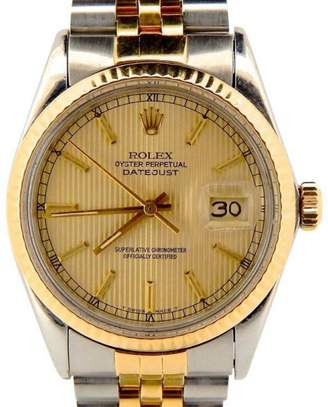 Rolex Datejust 16013 18K Yellow Gold & Stainless Steel Jubilee Tapestry Dial Mens Watch $10,900 thestylecure.com