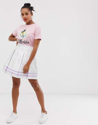 Daisy Street mini tennis skirt in pastel stripe