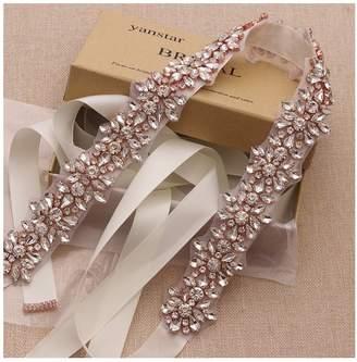 yanstar Rose Gold Crystal Rhinestone Wedding Bridal Belt Sashes with Navy Blue Ribbon for Bridesmaid Dress