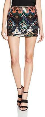 boohoo Women's Aztec Embroidered Mini Skirt,8