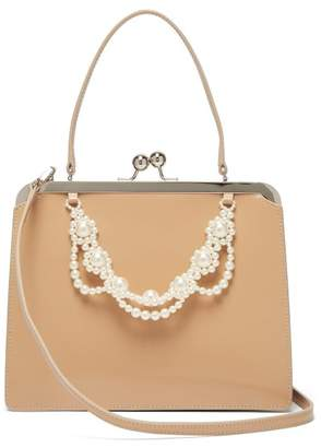 Simone Rocha Faux Pearl Trimmed Leather Bag - Womens - Nude