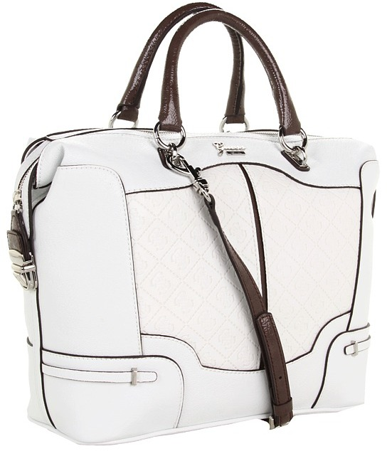 GUESS Balin Box Satchel (White Multi) - Bags and Luggage