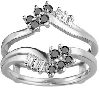 TwoBirch Black and White Cubic Zirconia Mounted in Sterling Silver Bypass Style Ring Guard with Round and Baguette Stones (0.47ctw)