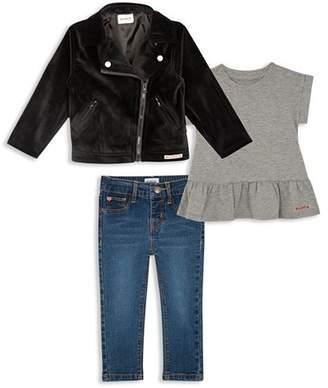 Hudson Girls' Velvet Moto Jacket, Ruffled Tee & Jeans Set - Little Kid