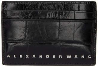 Alexander Wang Black Croc Dime Card Holder