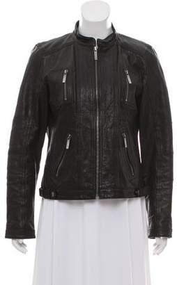 MICHAEL Michael Kors Leather Zip-Up Jacket