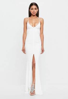 Missguided White Cami Fishtail Maxi Dress