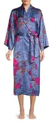 Natori N Impressions Tied Long Satin Robe
