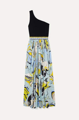Emilio Pucci One-shoulder Stretch-knit And Printed Crepe Maxi Dress - Blue