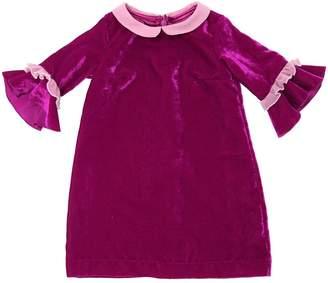 MonnaLisa Velvet Dress With Ruffle Cuffs