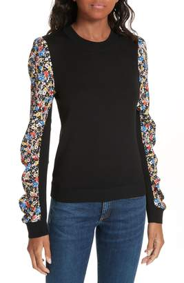 Veronica Beard Adler Stretch Silk Sleeve Merino Wool Sweater
