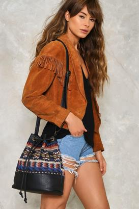 Nasty Gal WANT Drawn Together Embroidered Bucket Bag