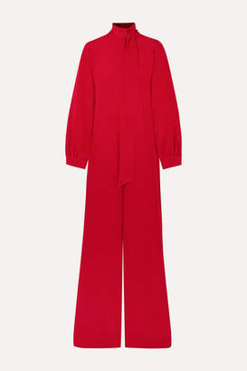 ADAM by Adam Lippes Silk Crepe De Chine Jumpsuit - Red