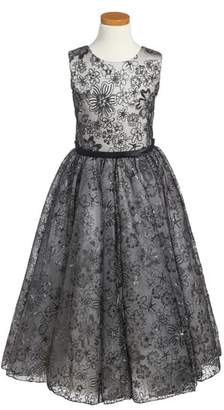 Joan Calabrese for Mon Cheri Sequin & Lace Dress