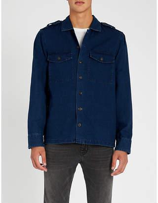 BOSS Epaulette-detail regular-fit denim shirt