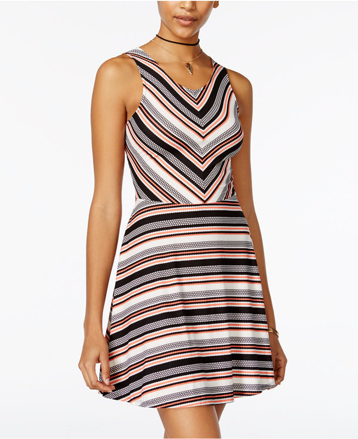 Planet Gold Juniors' Striped Cutout Fit & Flare Dress
