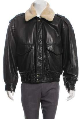 Andrew Marc Shearling-Accented Leather Bomber Jacket