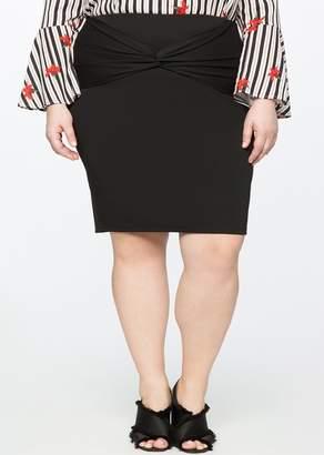 ELOQUII Twist Front Pencil Skirt (Plus Size)