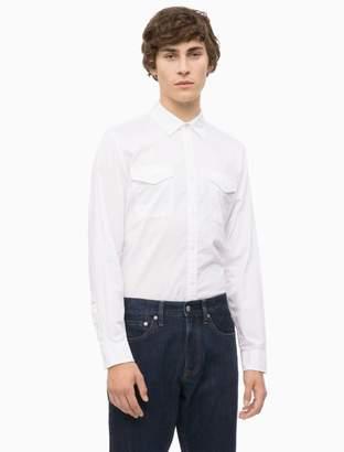 Calvin Klein slim fit logo patch military shirt