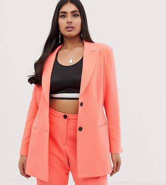 Asos DESIGN curve fluro pink suit blazer