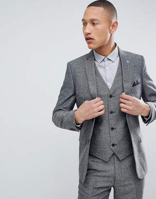 French Connection Slim Fit Gray Herringbone Suit Jacket