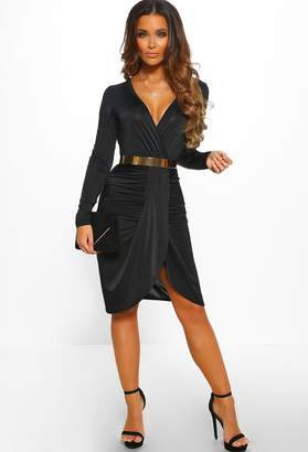 Pink Boutique Your Obsession Black Ruched Long Sleeve Wrap Midi Dress