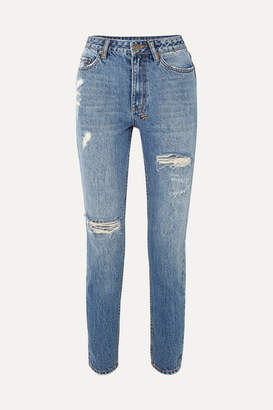 Ksubi Slim Pin Rushed Distressed High-rise Jeans - Mid denim