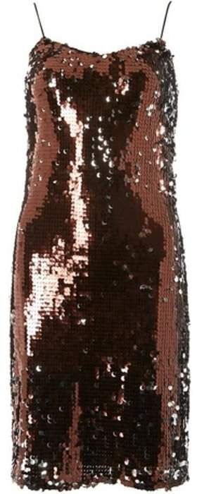 Womens **Tall Chocolate Brown Sequin Slip Dress