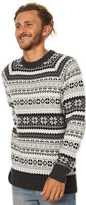 Swell New Men's Whistler Mens Knit Crew Neck Wool Acrylic Grey
