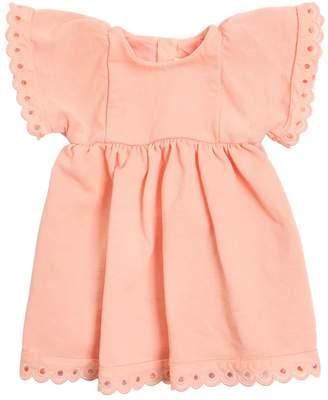 Chloé Cotton Sweatshirt Dress W/ Eyelet Lace
