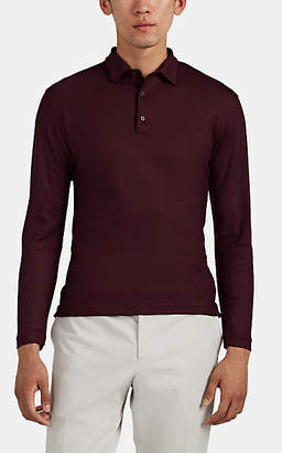 Isaia Men's Wool Piqué Long-Sleeve Polo Shirt - Wine