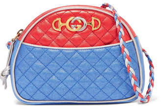 Gucci Quilted Color-block Metallic Leather Shoulder Bag - Blue
